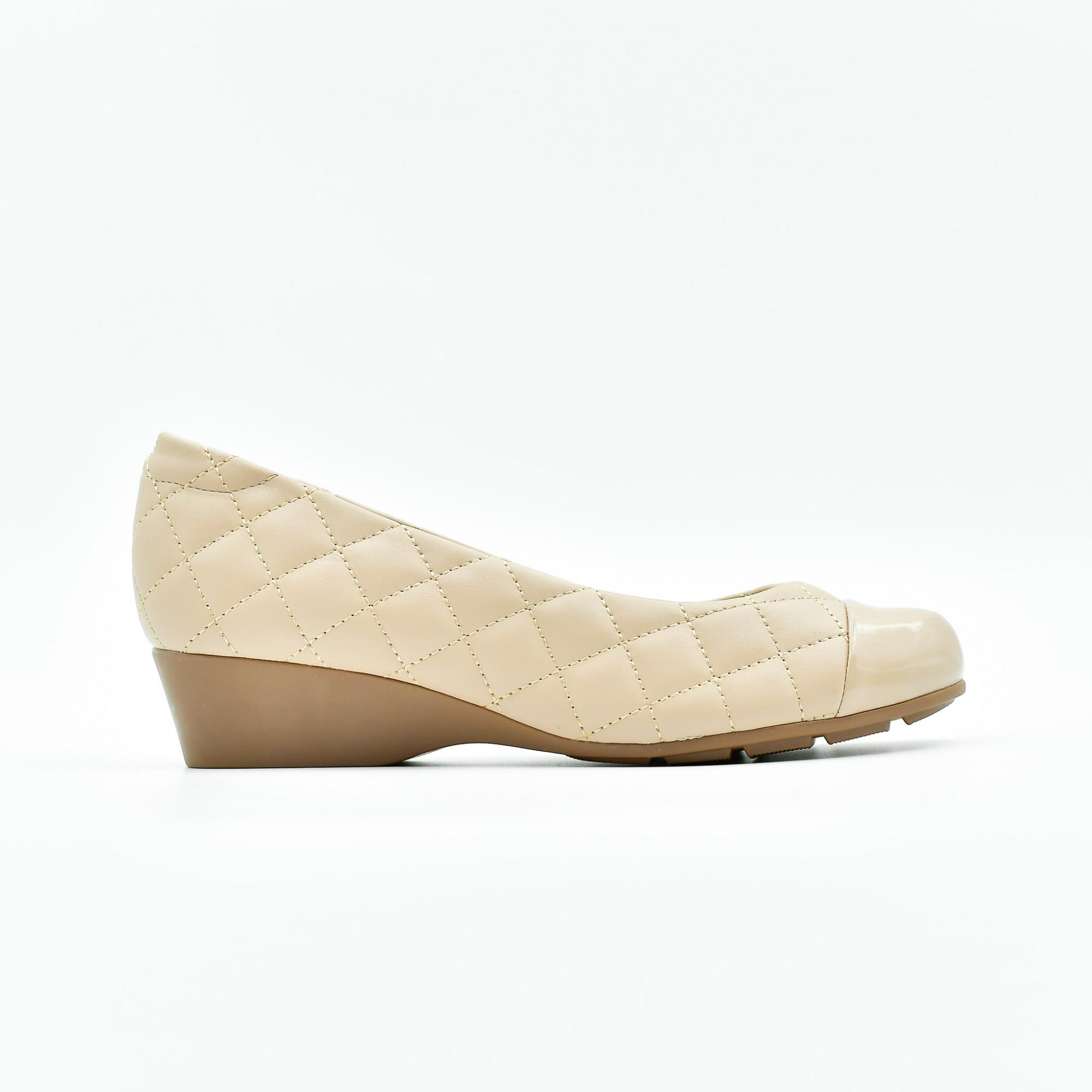 Sapato Feminino Anabela Modare Napa Pele Verniz Bege