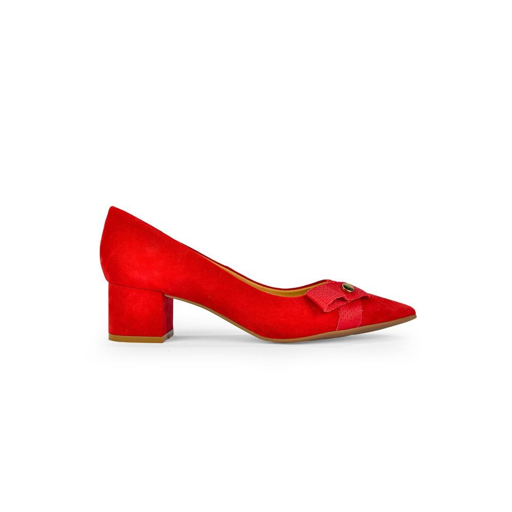 Sapato Feminino Bottero Couro Nobuck Rouge Bico Fino