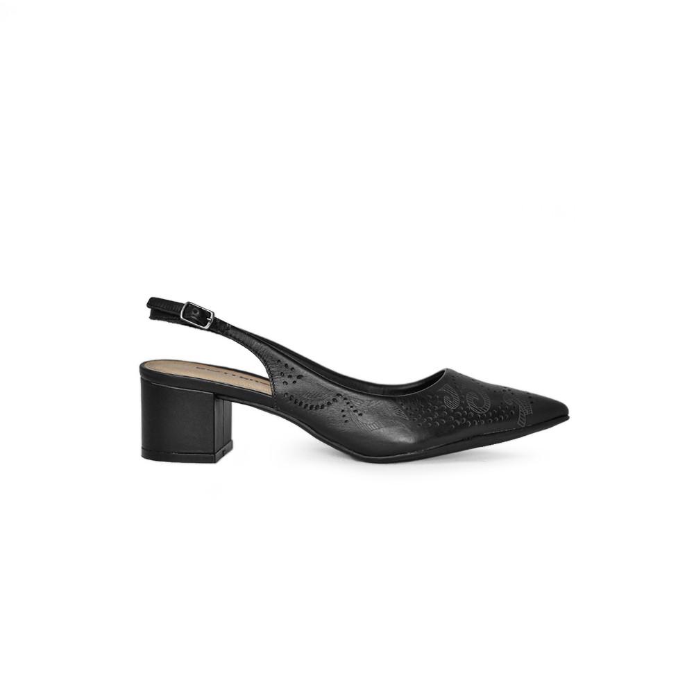 Sapato Feminino Bottero Preto Luxo Recorte Lazer
