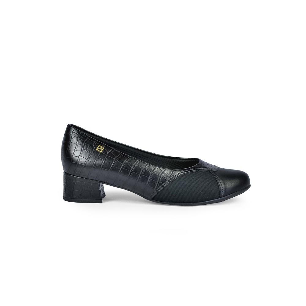 Sapato Salto Baixo Feminino Piccadilly Croco Napa Preto 141095-8