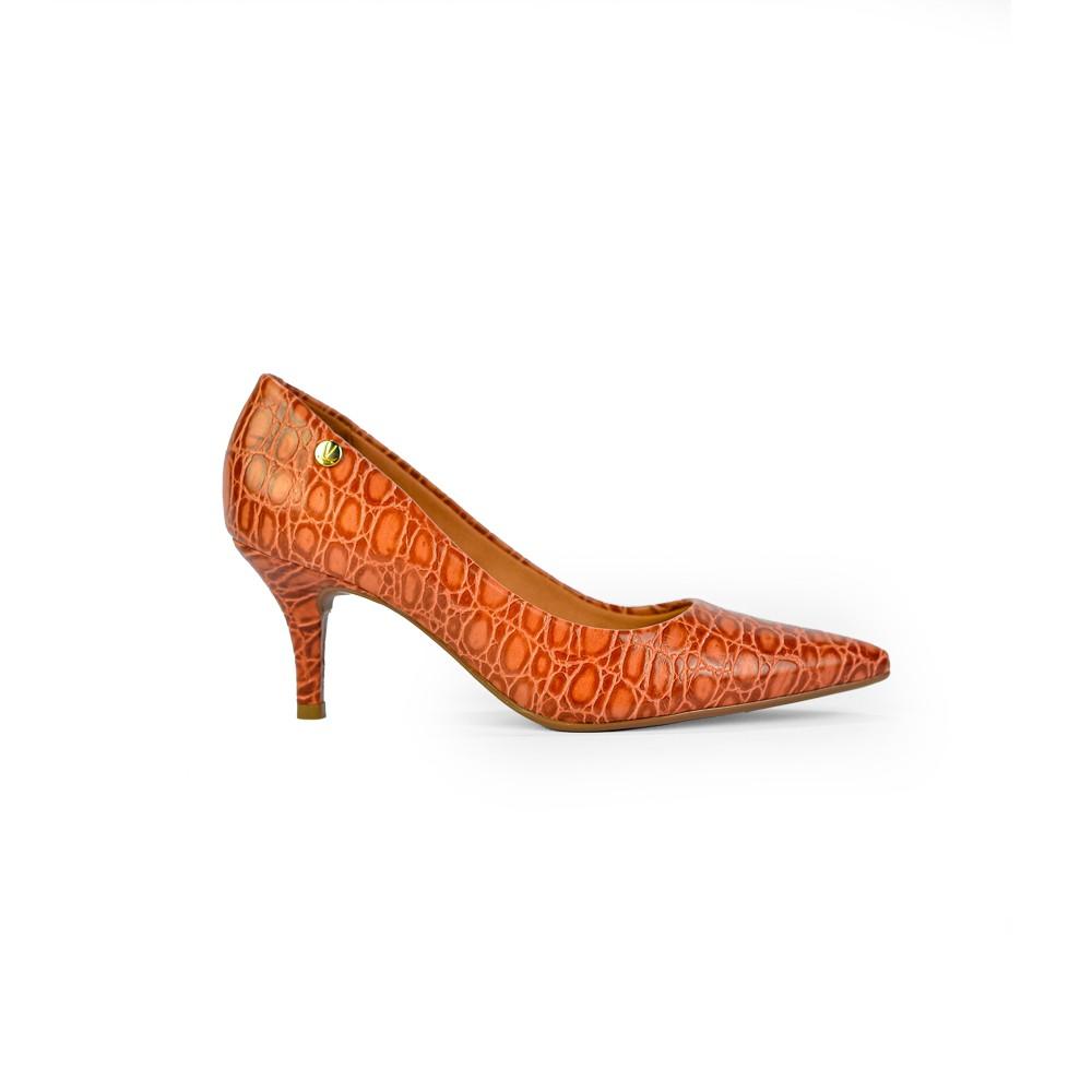 Sapato Scarpin Vizzano Croco Vecchio Telha Salto Medio