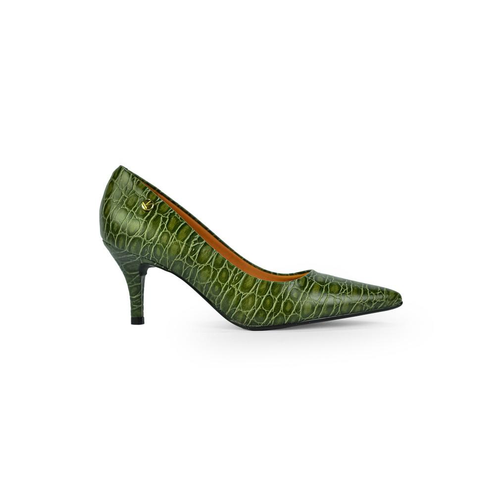 Sapato Scarpin Vizzano Salto Medio Croco Verde