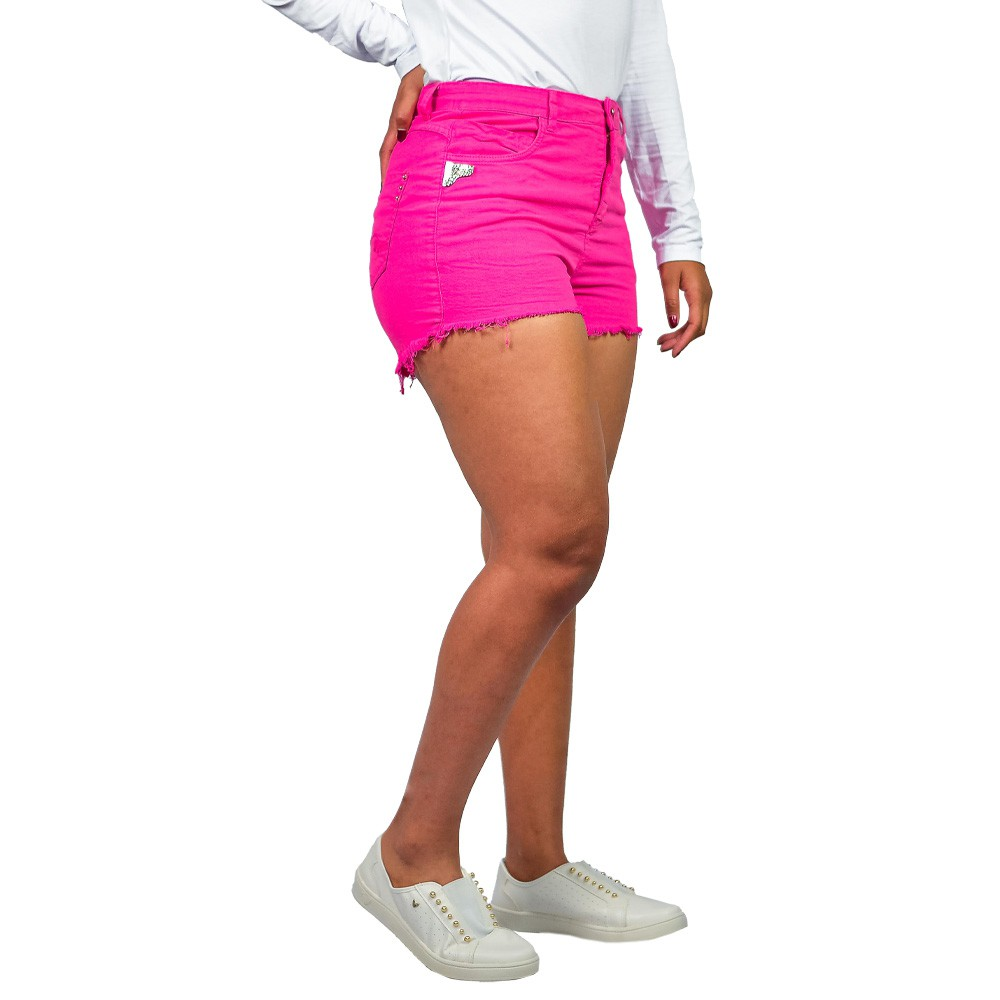 Shorts Curto Jeans Feminino Valente Desfiado Pink