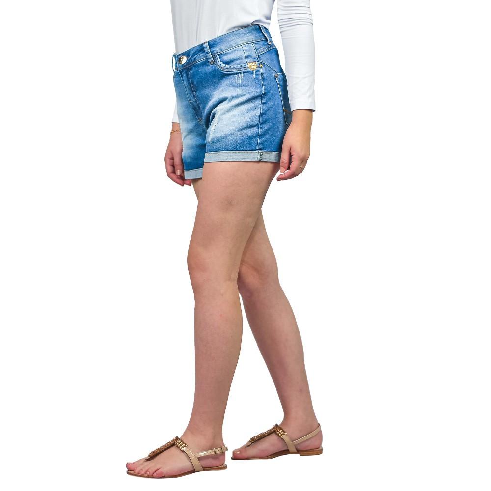Shorts Curto Jeans Feminino Valente Rasgado