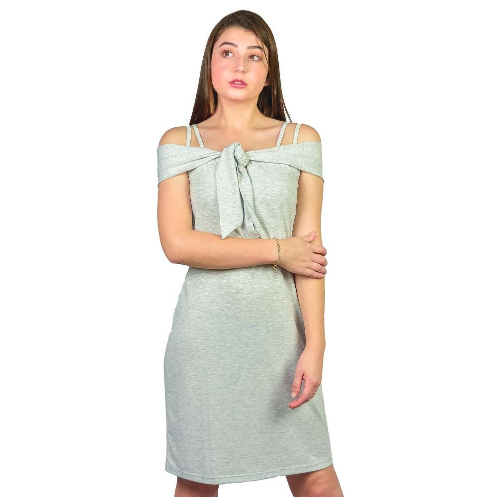 Vestido Casual Feminino Shante Basico Cinza