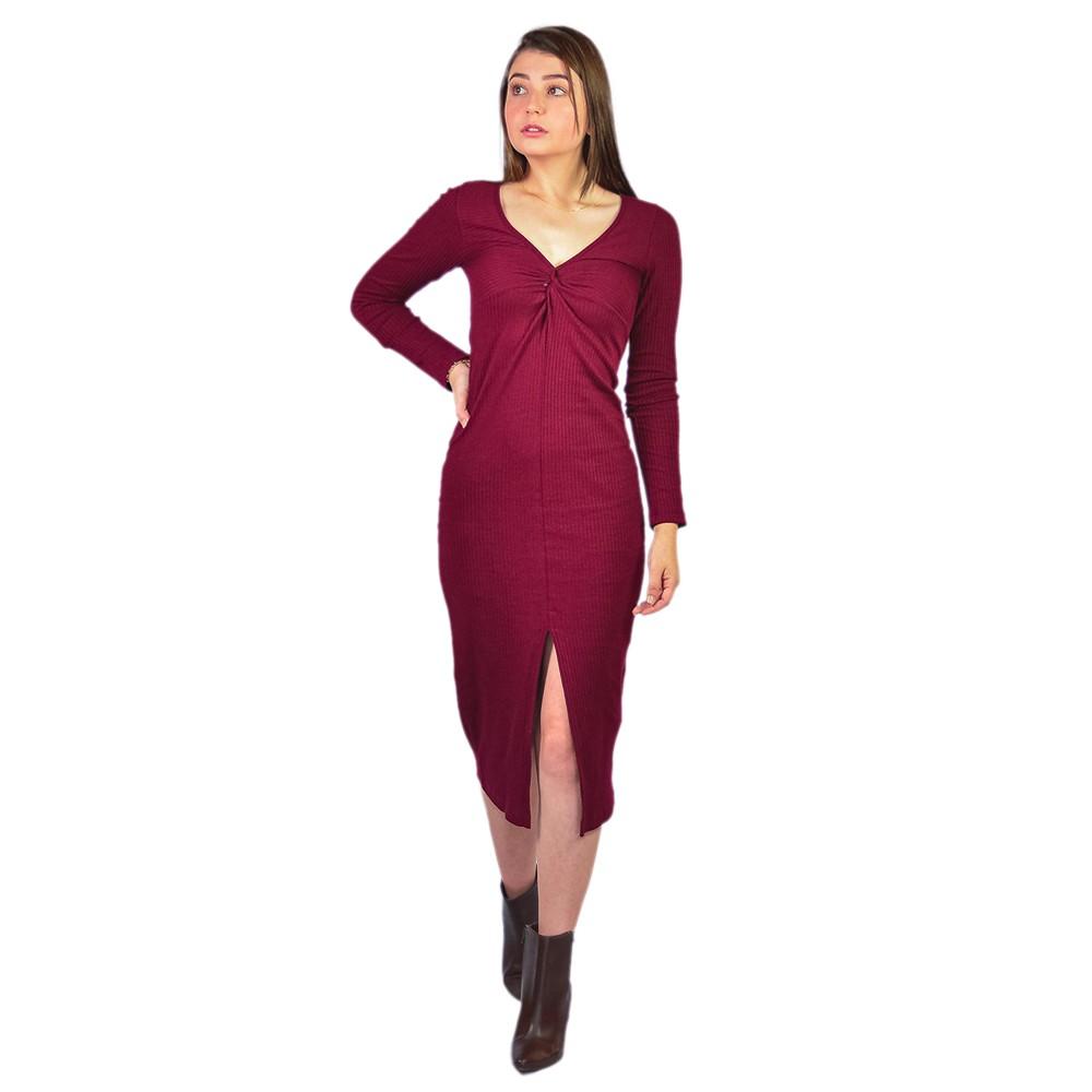 Vestido Feminino Mara Rosa Canelado com No Bordo