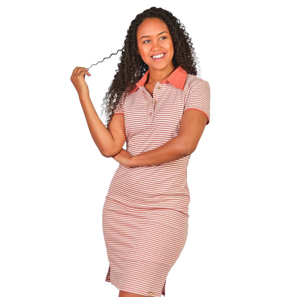 Vestido Gola Polo Manga Curta Laura Rosa Listrado Rose