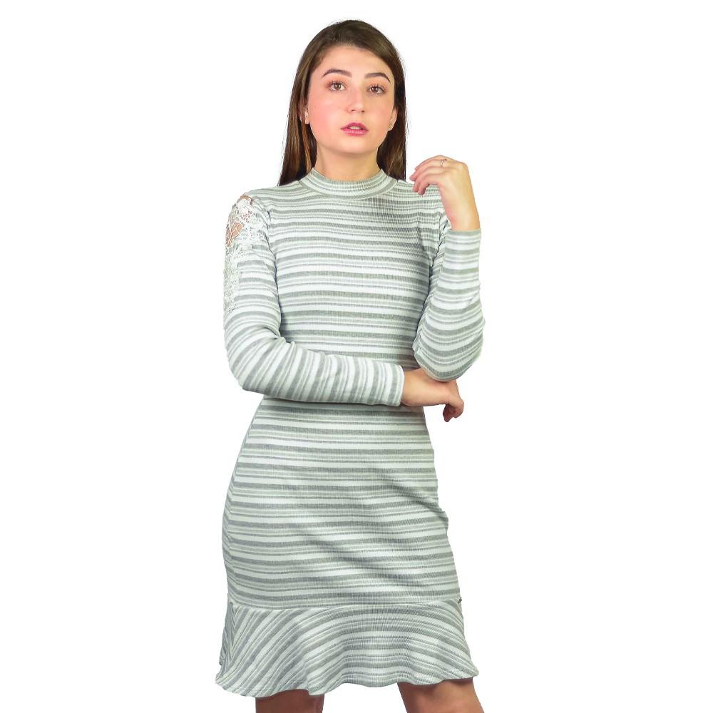 Vestido Manga Longa Feminino Hapuk Mescla Listrado