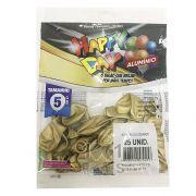 Balão Alumínio Dourado N05 25 unid  Happy Day