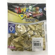 Balão Alumínio Dourado N9 25 unid Happy Day