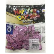 Balão Alumínio Fucsia N9 25 unid Happy Day