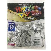 Balão Alumínio Natural N9 25 unid Happy Day