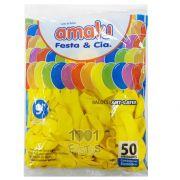 Balão Amarelo N09 50 unid Amalu
