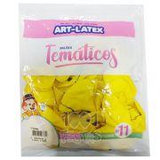 Balão Amarelo Smile N11 25 unid Art Latex