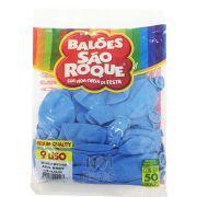 Balão Azul Bebê N09 50 unid São Roque