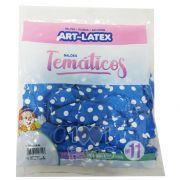 Balão Azul Celeste Bolinha Branca N11 25 unid Art Latex