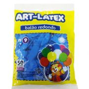 Balão Azul Celeste N09 50 unid Art Latex