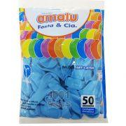 Balão Azul Claro N09 50 unid Amalu