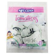 Balão Branco Bigode Preto N11 25 unid Art Latex