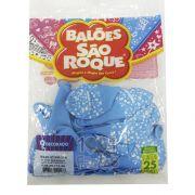 Balão  Chá de Bebê Azul Baby e Branco N09 25 unid São Roque