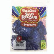 Balão Cintilante Azul N07 50 unid São Roque
