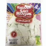 Balão Cintilante Branco N07 50 unid São Roque