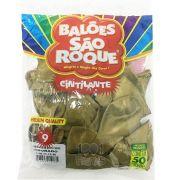 Balão Cintilante Dourado N09 50 unid. São Roque