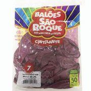 Balão Cintilante Rosa N07 50 unid São Roque