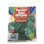 Balão Cintilante Verde N07 50 unid São Roque