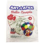 Balão Coração Branco N06 50 unid Art Latex