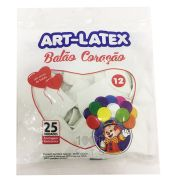 Balão Coração Branco N12 25 Unid Art Latex