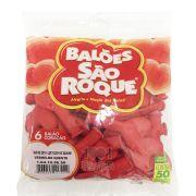 Balão Coração Vermelho N06 50 unid São Roque
