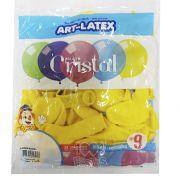 Balão Cristal Amarelo N09 24 unid Art Latex