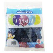 Balão Cristal Candy Azul 5 N09 24 unid Art Latex
