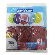 Balão Cristal Carmim N09 24 unid Art Latex