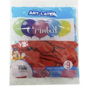 Balão Cristal Vermelho N09 24 unid Art Latex