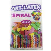 Balão Espiral Sortido 25 unid Art Látex