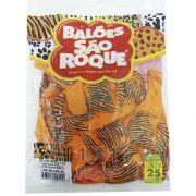 Balão  Laranja Safari Tigre  Preto N09 25 unid São Roque