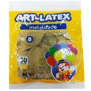 Balão Metalizado Ouro N08 50 unid. Art Latex