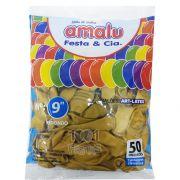 Balão Metalizado Ouro N09  50 unid. Amalu
