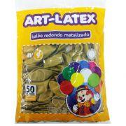 Balão Metalizado Ouro N09 50 unid Art Latex