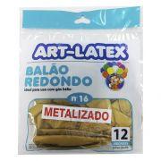 Balão Metalizado Ouro N16 12 unid Art Latex