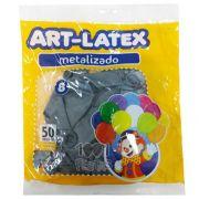 Balão Metalizado Prata N08 50 unid. Art Latex