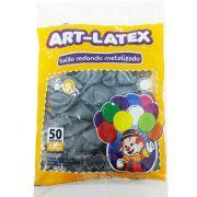 Balão Metalizado Prata N09  50 unid. Art Latex
