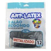Balão Metalizado Prata N16 12 unid Art Latex