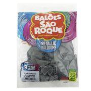Balão Metallic Chumbo N09 25 unid São Roque