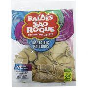 Balão Metallic Dourado N09 25 unid São Roque