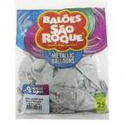 Balão Metallic Prateado N09 25 unid São Roque