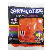 Balão Neon Laranja Fire N09  25 unid Art Latex
