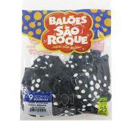 Balão Poá Preto Bolinhas Brancas N09 25 unid São Roque